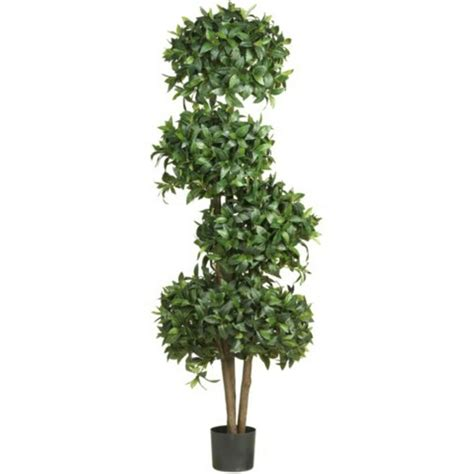"Decorative Artificial 69"" Sweet Bay Topiary W4 Balls Silk"