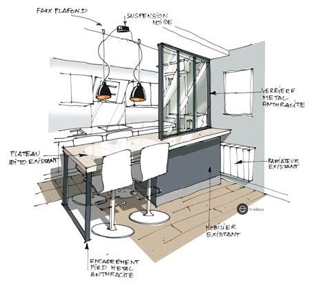 cacher cuisine ouverte croquis cuisine ouverte avec verrière et suspension métal
