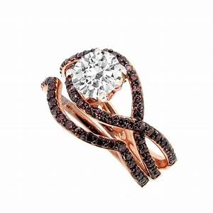 unique infinity engagement and wedding ring set rose gold With chocolate wedding ring sets
