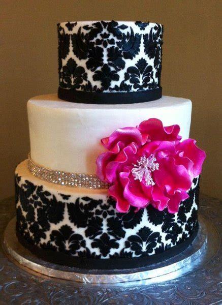 modern black pink white buttercream flowers  wedding