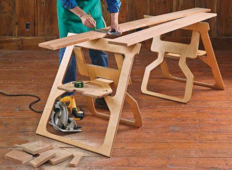 fold flat sawhorses woodsmith plans woodworking