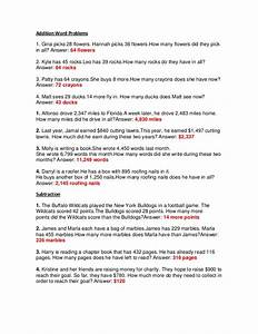 Addition Word Problems 3rd Grade