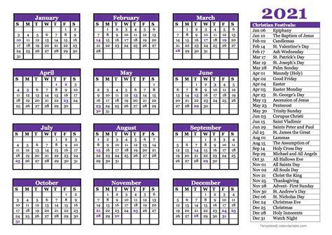 christian festivals calendar template