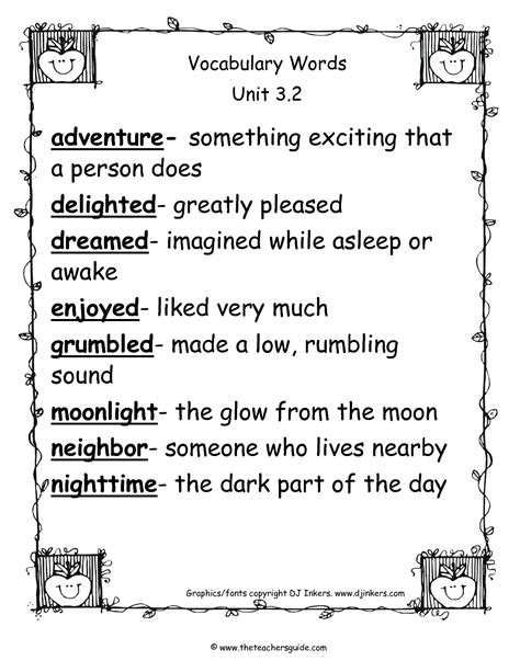 worksheets 1st grade vocabulary words and definitions