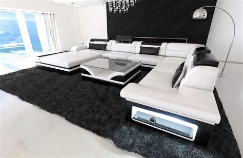 Big Sofa Mit Led Design Sectional Sofa Mezzo With Led Lights White Black