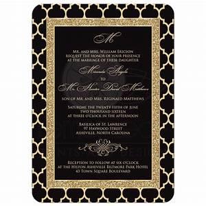 monogrammed wedding invitation black gold quatrefoil With black and gold scroll wedding invitations