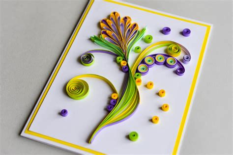 How To Make  Greeting Card Quilling Flower  Step By Step