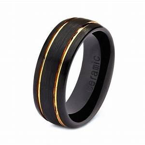 mens womens ceramic wedding band ring 8mm 18k yellow gold With black gold mens wedding rings