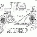 Airship Coloring Colorings sketch template