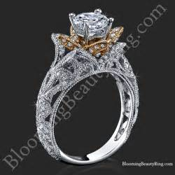 flower engagement ring carved blooming flower engagement ring with gold petals bbr611 blooming