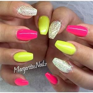 Neon Pink & Yellow Ballerina nails Pinterest