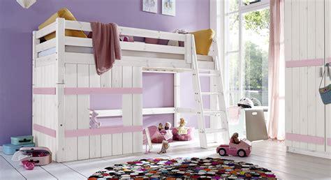 Hochbett aus Holz mit Leiter für Mädchen  Kids Paradise
