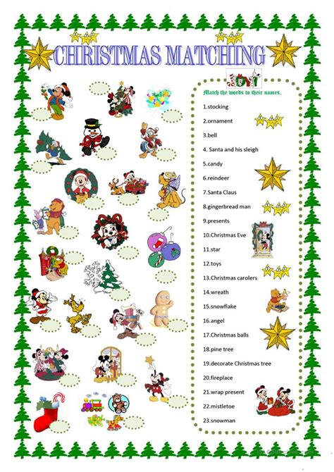christmas activity forwork matching with disney characters worksheet free esl printable worksheets made by teachers