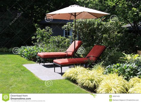 garden lounge chairs stock photo image 42621425