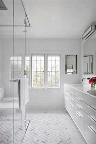 White Bathroom Floor Tile Chevron
