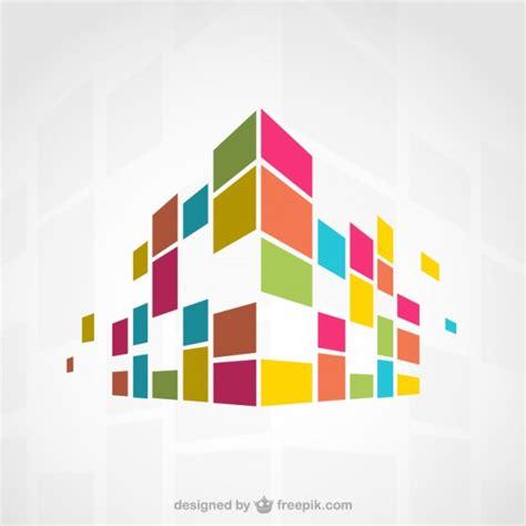 وکتور انتزاعی ساختمان های رنگارنگ