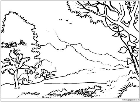 forest coloring pages forest landscape coloring page free coloring pages