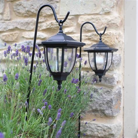 solar powered shepherds crook coach lanterns pack of 2