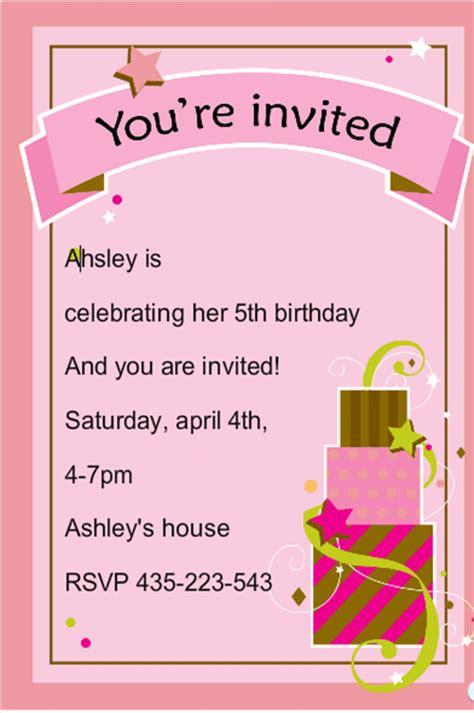 5th birthday invitation card template birthday invitation template 70 free psd format