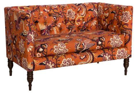 Orange Settee by Elizabeth Tufted Settee Burnt Orange Decor Settee