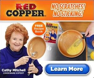 cathy mitchells red copper  stick red pans