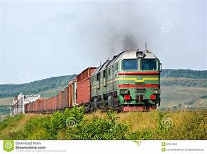 Heavy Freight Train Pulled By Diesel Locomotive Royalty ...