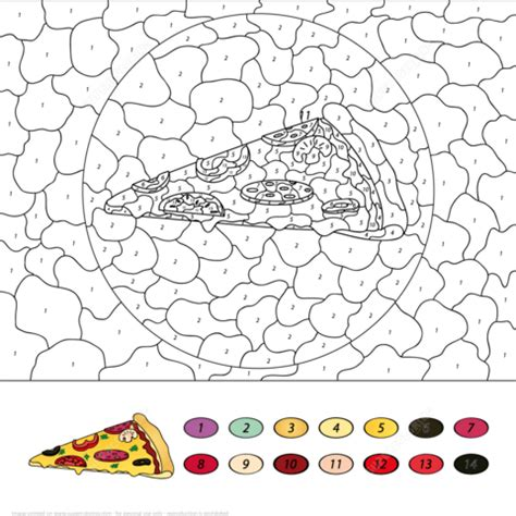 pizza color  number  printable coloring pages