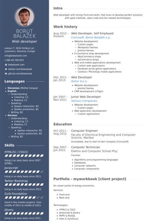 Web Developer Cv Template by Web Developer Resume Sles Visualcv Resume Sles Database