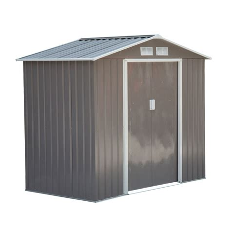 Outsunny 7' X 4' Outdoor Metal Garden Storage Shed Gray
