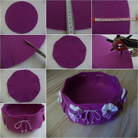 creative ideas diy easy  pretty felt basket