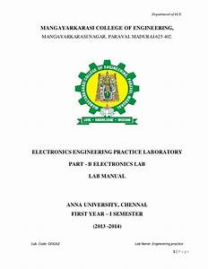 Engineering Practice Lab Manual For Electronics