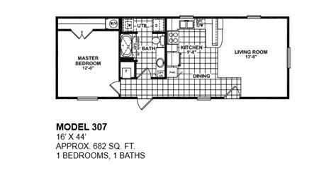 2 bedroom 1 bath mobile home floor plans model 307 16x44 1bedroom 1bath oak creek mobile home