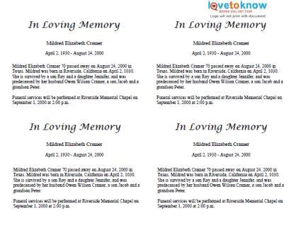 Template For Writing An Obituary by Free Obituary Templates