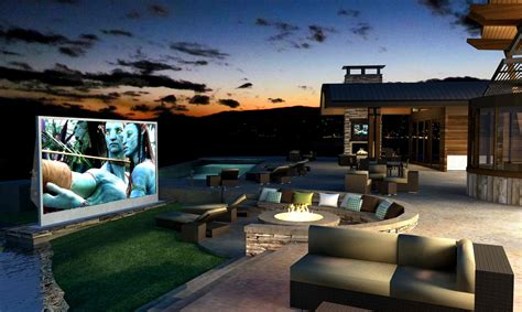 Backyard Theater Screen by Structural Associates Company Luxury Custom Home Builders