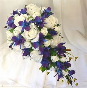Silk wedding flowers blue purple orchids white roses ...