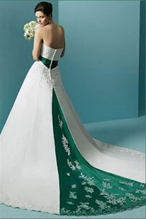 green  white wedding dresses