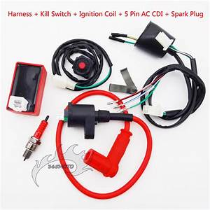 Kill Switch Wiring Loom Harness Ignition Coil Cdi Spark Plug For Pit Dirt Bike