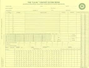 Cricket Score Sheet