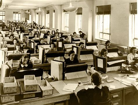 punching bureau workers entering data on punch cards for the 1940 census