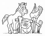 Coloring Farm Pages Horse Animal Pig Activities Fence Crafts Diy Hen Sounds sketch template