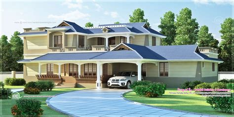 luxury sloping roof  bedroom villa exterior kerala home design  floor plans