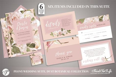 Peony Wedding Invitation Printable Wedding Suite #Dusty
