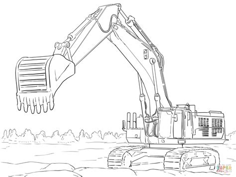 Coloring Excavator by Caterpillar Excavator Coloring Page Free Printable