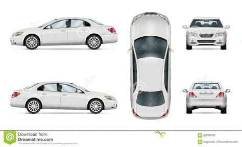 White Vector Car. Sedan Template Cartoon Vector