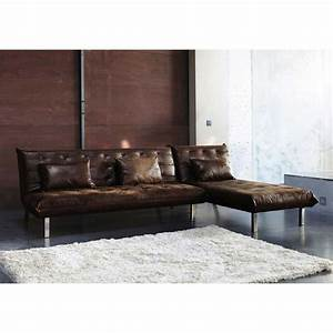 canape d39angle convertible 4 places imitation cuir marron With canape angle cuir maison du monde