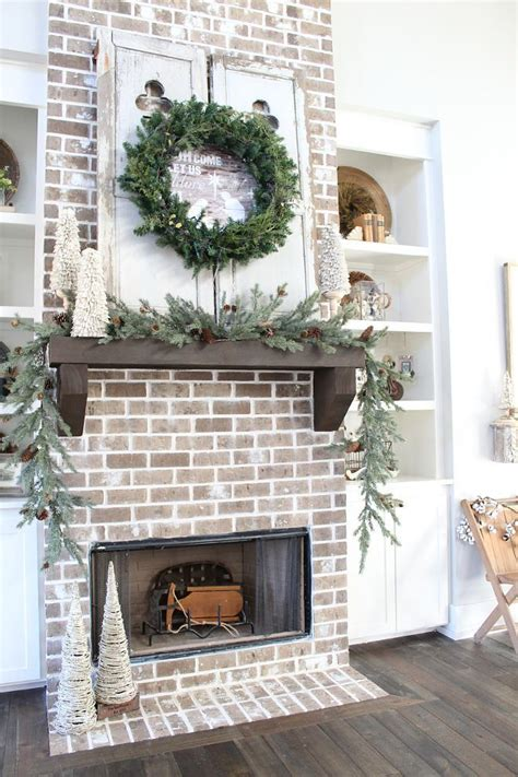 farmhouse brick fireplace christmas decorating ideas