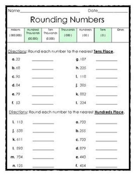 Free #rounding Numbers To The Tens And Hundreds Places  This Worksheet Includes A Place Value