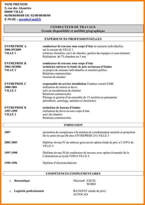 Exemple Type De Cv by Cv Type Conducteur De Travaux