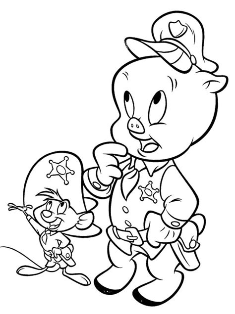Porky Pig Is The Regional Police Coloring Pages