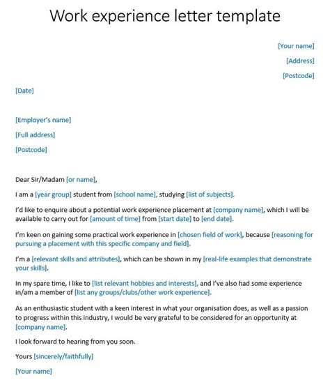 application letter  work experience template cover